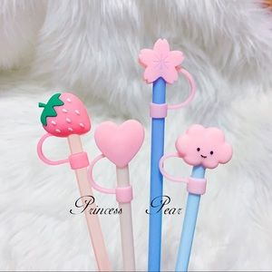 4x Pink Straw Toppers super cute